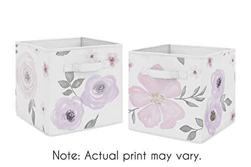 Sweet Jojo Designs Lavender Purple, Pink, Grey and White Organizer Storage Bins for Watercolor Floral Collection - Set of 2 - Rose Flower ()