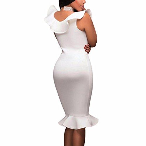 Fishtail Ruffle Dress Mermaid Lotus Club Wear Women's Sexy Neckline Bodycon White Dress Leaf Midi Dress Sleeveless agxAq