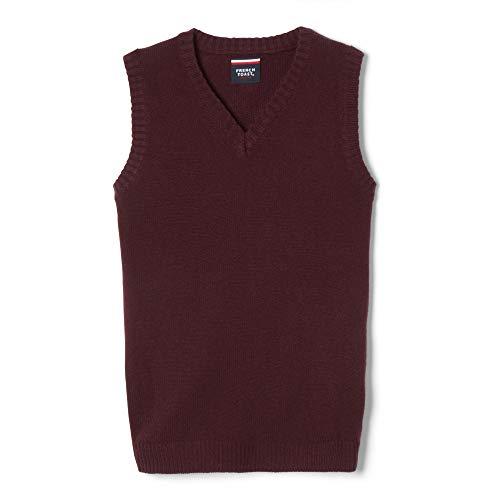 French Toast Boys' Big' V-Neck Sweater Vest, Burgundy, XXL (18/20)