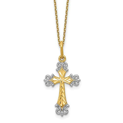 (FB Jewels Solid 14K Yellow Gold and Rhodium Cross Charm)