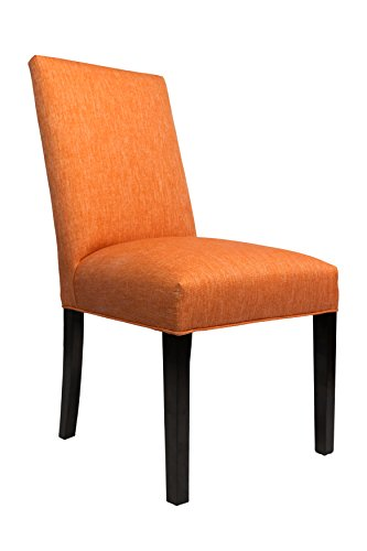Sole Designs Modern Dining Collection Straight Back Upholstered Dining Side Chair Spring Seating, White Wash Finish, Set of 2, Orange