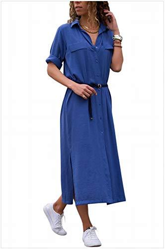 Katylen-Girl cloth Bikini a Vita Alta con Risvolto a Vita Alta e Maniche Lunghe a Risvolto Femminile, Blu, m