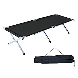 Homevibes Folding Lightweight Bed & Portable Camping Cot with Carry Bag for Adults Hiking Hunting Traveling, Blue Black…