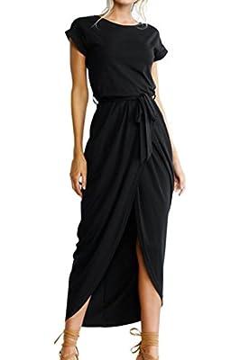 roswear Women's Casual Short Sleeve Front Slit High Low Long Maxi Dress