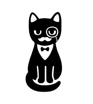 Amazon.com: Esmoquin gato W/monóculo calcomanía de vinilo ...