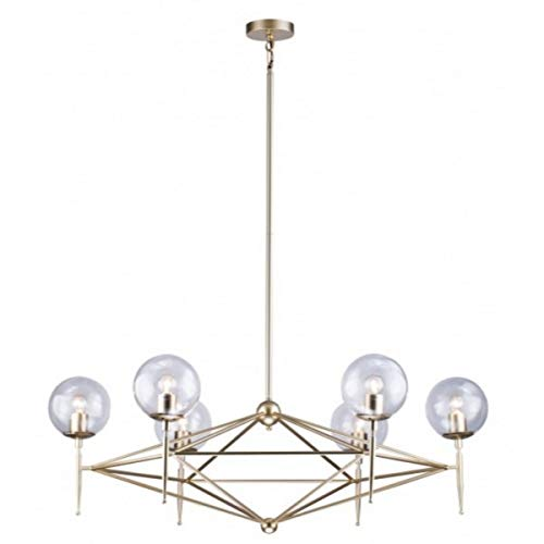 Gold Iron Frame with Clear Glass Globe Shade Light Fixture