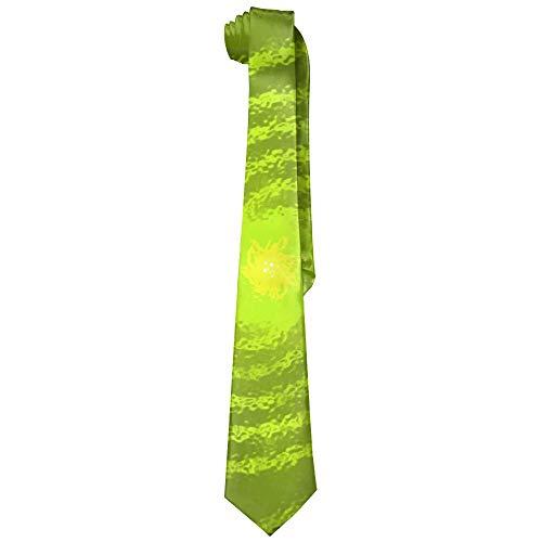 Yellow Particle Spiral Swirl Polyester Neckwear Silk Neck Tie, Men