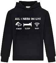 Thombase All I Need in Life - Food Sleep WiFi - Unisex Hoodies Hoody Tops Girls Boys Long Sleeve T-Shirt