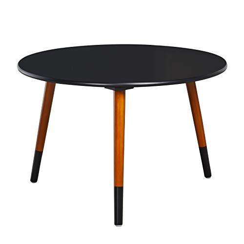 (Target Marketing Systems Livia Collection Ultra Modern Round Coffee Table With Splayed Leg Finish, Black/Wood)