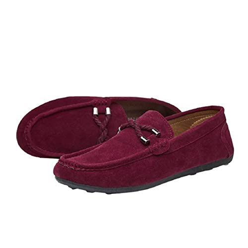 Men Classic Suede Slip On Loafers Moccasins Luxury Comfort Shoes Dress Shoes by Lowprofile Wine