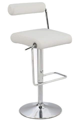 (Chintaly Imports 0979 Roll Back Pneumatic Gas Lift Adjustable Height Swivel Stool, Chrome/White)