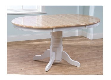 Simple Living Expandable Oak Rubberwood Pedestal Round Farmhouse Dining Table (Expandable Round Dining Room Tables)