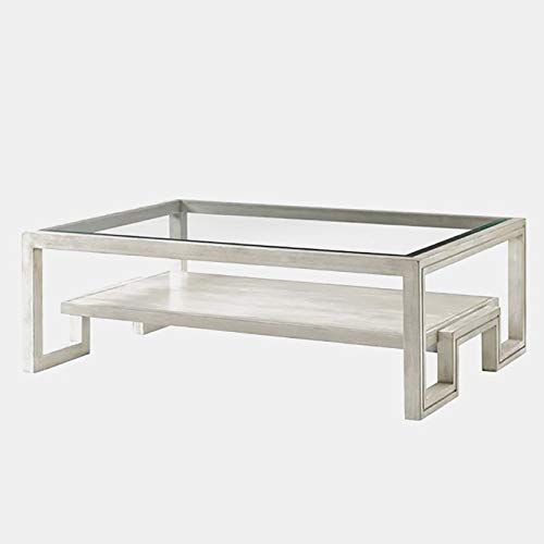 (Wood Base Coffee Table with Glass Top - Coffee Table with Shelf - Light Oyster Shell)