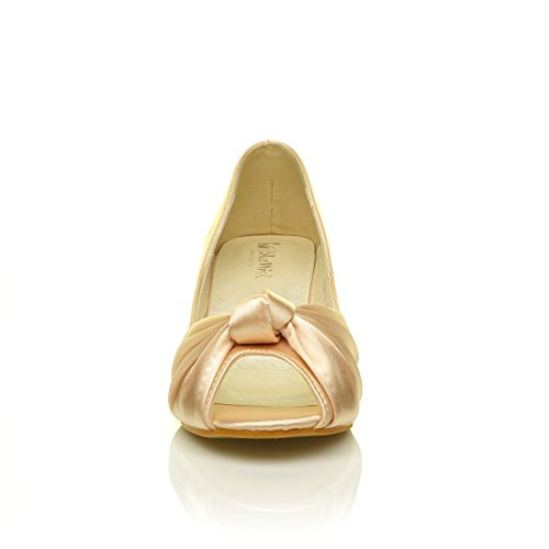 Paris Champagne Gold Satin Kitten Medium Heel Bridal Peeptoe Shoes 4E7FJsg