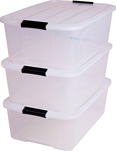 Iris 140065 Aufbewahrungsbox set von 3, Ordnungssystem, Stapelbare mit Handel 30 L, Kunststoffbox mit deckel, transparent