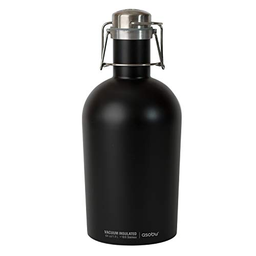 Asobu G2G-9241 Coolest Stainless Steel Beer Growler 2 Go, 64 oz, Black