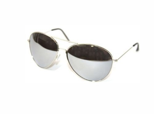 Aviator Mirrored Lens Curved Sunglasses, Silver