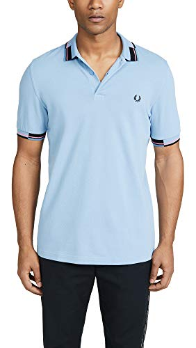 Fred Perry Men's Abstract Collar Polo Shirt, Sky, Blue, Stripe, Medium