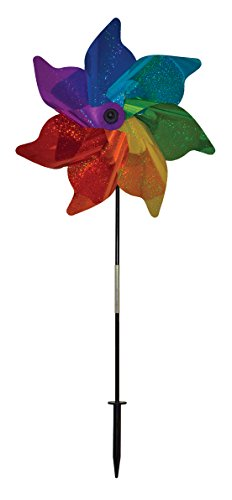 In the Breeze 2897 Rainbow Sparkle Pinwheel Spinner, 18 Inch, 18
