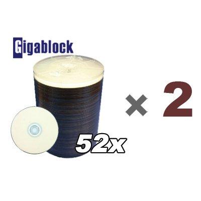 200pcs Gigablock CD-R 52x 700MB 80Min White Inkjet Hub printable top LYSB002N7OU0Y-CMPTRACCS