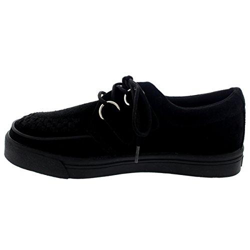 Damen T.U.K Creeper Sneaker Originals Bordell Schlingpflanzen Turnschuh Schwarz