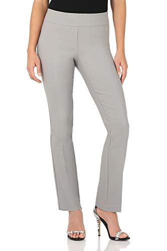 Rekucci Women's Ease in to Comfort Straight Leg Pant with Tummy Control (12,Silver)