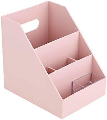 デスクトップ収納ラック 事務用品デスクトップ収納ラック化粧品リモコン収納ボックス (色 : 白, サイズ : 14.7*18.5*18.4cm)