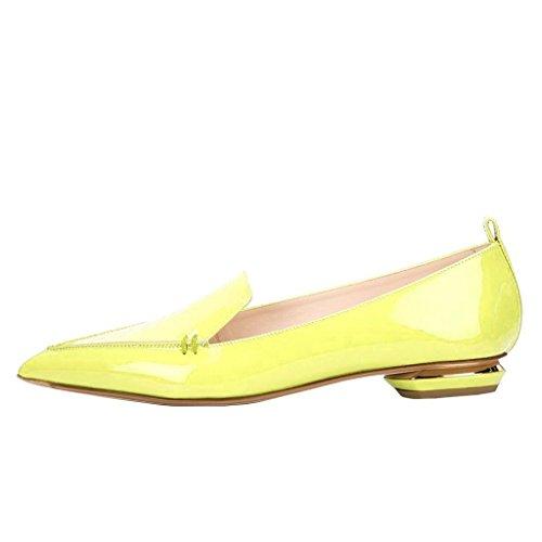 Fsj Femmes Mode Bout Pointu Pompes Talons Bas Décontractés Mocassins Glisser Sur Les Chaussures Dété Taille 4-15 Nous Jaune