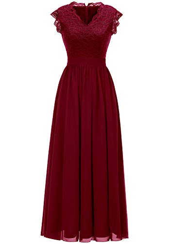Dressystar 0050 V Neck Sleeveless Lace Bridesmaid Dress Wedding Party Gown L Dark Red