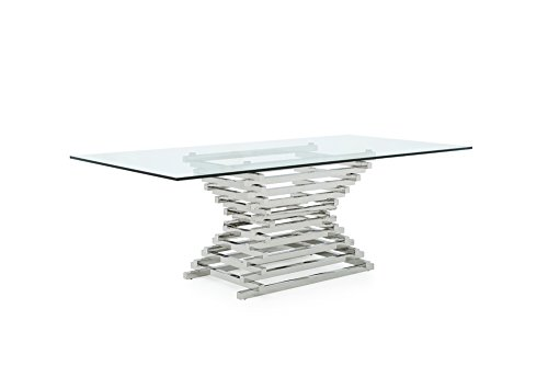 - Limari Home The Penrod Collection Modern Chrome Stainless Steel Metal Tiered Base & Smoked Tempered Glass Kitchen Dining Room Table, Chrome