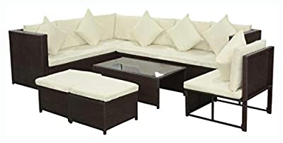PROGLEAM Outdoor Furniture Set, 8 Piece Garden Lounge Set with Cushions Poly Rattan Brown