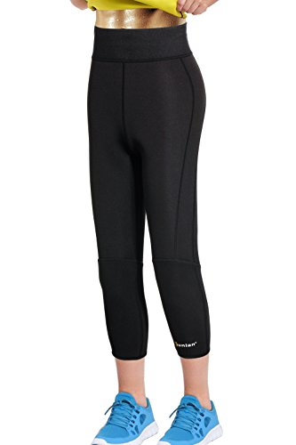 Junlan Women Weight Loss Pants Neoprene Exercise Leggings Sauna Suit Body Shaper Hot Sweat Slimming Capri Workout (Black sauna pants, 3XL)