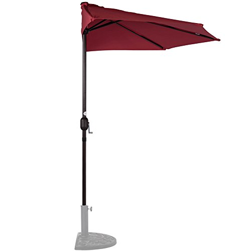 Sundale Outdoor 9 Feet Steel Half Umbrella Table Market Patio Umbrella with Crank and Velcro Strap for Garden, Deck, Backyard, Pool, 5 Steel Ribs, 100% Polyester Canopy (Red) 100 Patio Umbrella