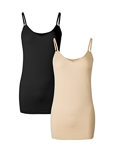 Genuwin Women's 2 Pack Nylon Ultra Soft Stretchy Tank Tops Breathable Quick Dry Camis (L/XL, Black+Nude)
