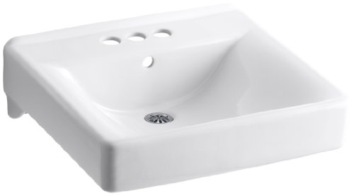(Kohler 2054-0 Ceramic Wall Mounted Square Bathroom Sink, 21.5 x 11.25 x 19.5 inches, White)