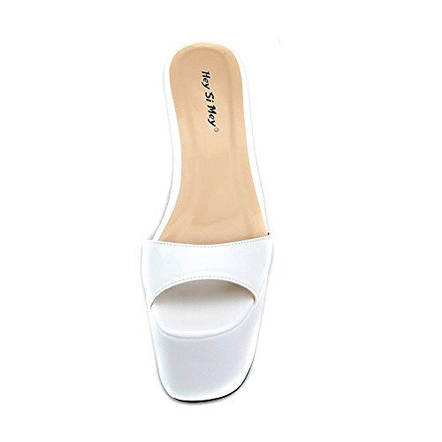 Piede Piattaforma Sandalo Taglia Del Alto White Rosso UK15 48 Dito Festa 35 Estate Pantofole Sbirciare Tacchi EUR47 Donna Nero Scarpe Su Sandali Vestito Scivolare qAZCwA