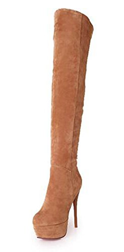 4' Stiletto High Heel - Summerwhisper Women's Platform Stiletto High Heel Over The Knee Boots Yellow 8.5 B(M) US