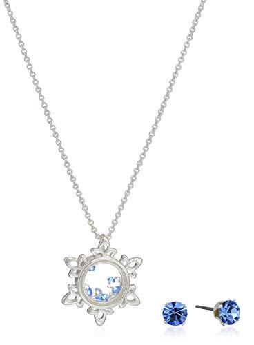 Disney Women's Silver Plated Crystal Frozen Earring &