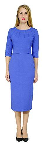 Sleeve Pintuck Dress - Marycrafts Women's Business Office Work Pencil Midi Dress 14 Blue