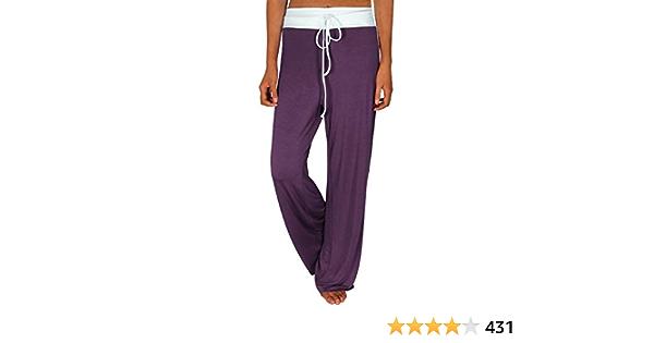 Roselux Pijamas elásticos para mujer, cómodos pantalones de yoga de cintura alta con cordón y pierna ancha