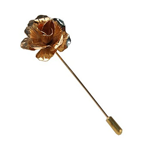 Sunny Home Men's Floral Golden Flower Lapel Stick Brooch Pin for Suit - Golden Pin Brooch