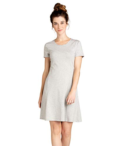 Toad&Co Women's Windmere Short Sleeve Dress, Heather Grey Mini Stripe, M