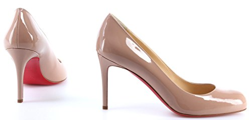 Simple 85 Calf Pump Louboutin Decollete Christian Patent Nude Chaussures Femmes qxfIwx4Fp