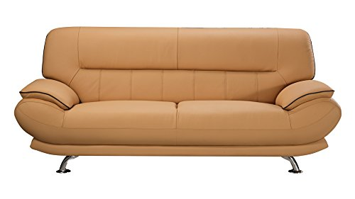 Genuine Leather Sofa (American Eagle Furniture Arcadia Collection Genuine Leather Living Room Sofa with Pillow Top Armrests, Yellow)