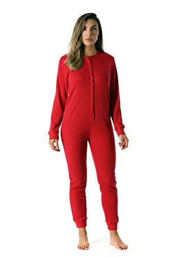 #followme Women's Thermal Henley Onesie Union Suit 6743-RED-L