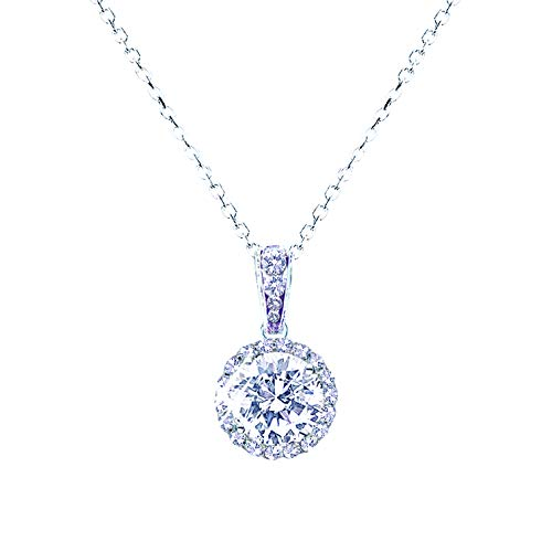 landau Jewelry Women's Necklace - Deluxe Pave Stud - Premium Quality Finish and Stones - Elegant Design - Original Gift for Women, Girls - Round CZ