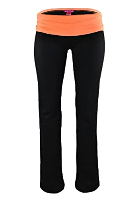 Zenana Fold Over Contrast Waist Cotton Spandex Pants