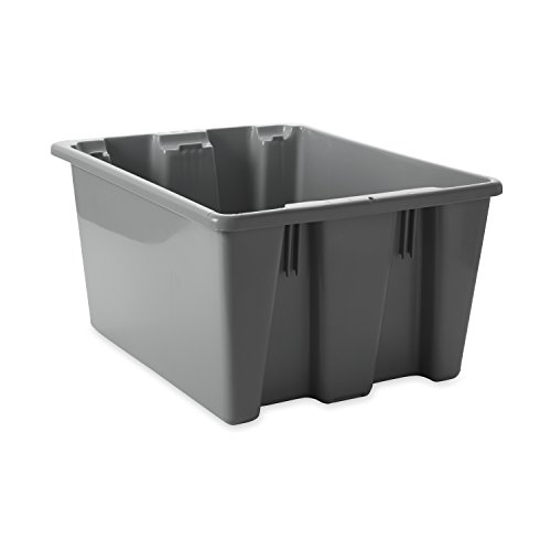 - Rubbermaid Commercial Palletote Storage Box, 1-3/10 Cu. Ft, Gray, FG172100GRAY