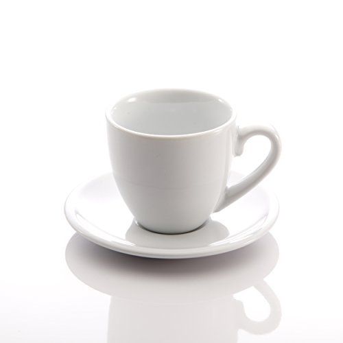 Home Chord Bar Espresso Cups And Saucers (Set of 4), 2 oz, White