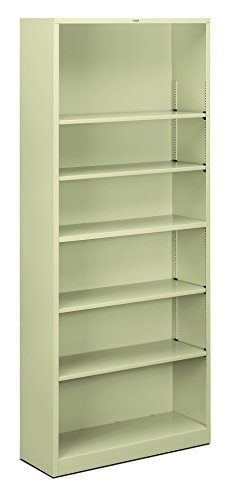 - HON Brigade Metal Bookcase - Bookcase with 6 Shelves, 34-1/2w by 12-5/8d by 81-1/8 h, Putty (HS82ABC)